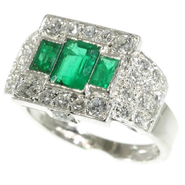 Unique ring pair of a Platinum Art Deco original with emeralds and its dummy model by Unknown Artist