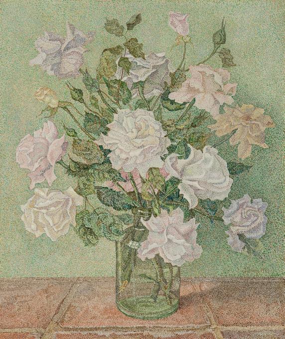 White roses in a vase by Jaap Nieweg