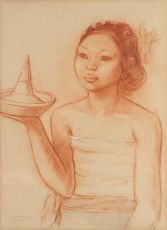 """A Balinese woman with offerings"" by Theo Meier"