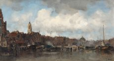View on Amsterdam from the water by Jacob Maris