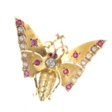 Antique gold Victorian butterfly brooch by Unknown Artist