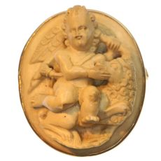 Antique Victorian lava stone cameo brooch with winged Amor putti by Unknown Artist
