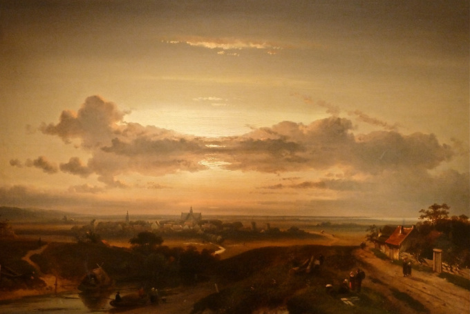 Sunset over landscape, in the distance the city Haarlem by Charles Leickert
