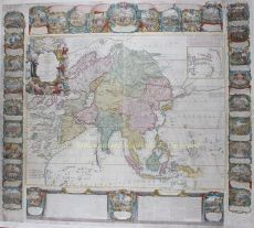 RARE AND MONUMENTAL WALL MAP OF ASIA by Crepy, Jean Baptiste