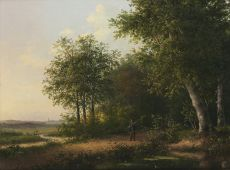 Fisherman in a forest by Andreas Schelfhout