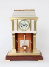 A French brass and marble industrial mantel clock, fireplace by Guilmet, circa 1890 by Guilmet