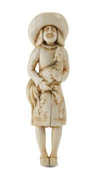 A IVORY NETSUKE OF A DUTCHMAN HOLDING A COCKEREL by Unknown Artist