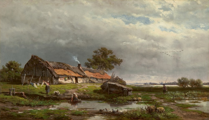 Activity by a cottage by Willem Roelofs