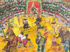 Circusvoorstelling met clowns, acrobaten, olifanten, apen, varken en een paard by Ellen Bottenheim Niemer