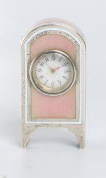 A miniature Swiss silver guilloche  enamel timepiece, circa 1900 by Unknown Artist