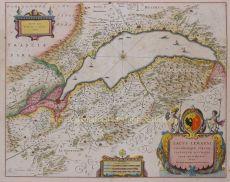 Historical map of Lake Geneva, 1640 by Blaeu, Willem