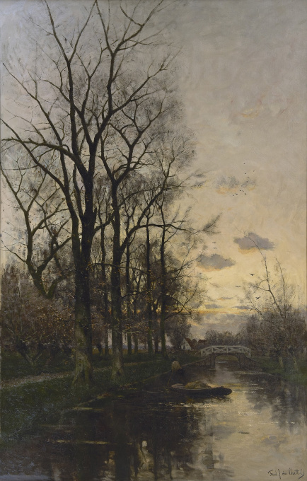 A gardeners barge on a river at sunset by Fredericus Jacobus van Rossum du Chattel