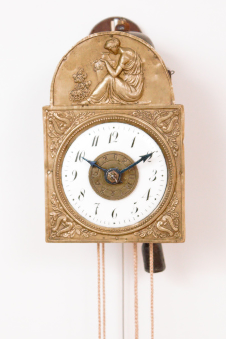 A rare German Black Forest miniature Sorg wall clock with alarm by Unknown Artist