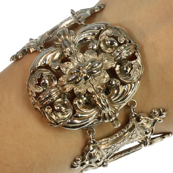 Early Victorian French silver bracelet by Unknown