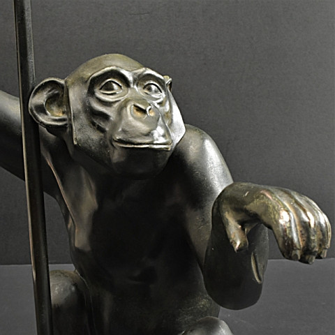 Tablelamp art deco monkey with umbrella by Artus ( Max le Verrier)
