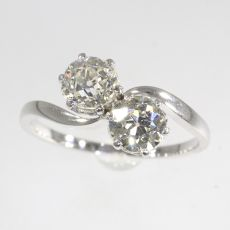 Vintage romantic diamond engagement ring a so-called toi et moi by Unknown