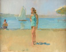 On the beach (Viareggio) by Isaac Israels