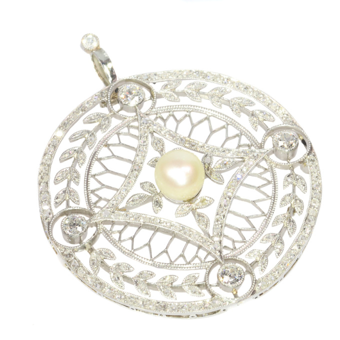 Vintage Edwardian diamond and pearl pendant set with 125 diamonds by Unknown Artist