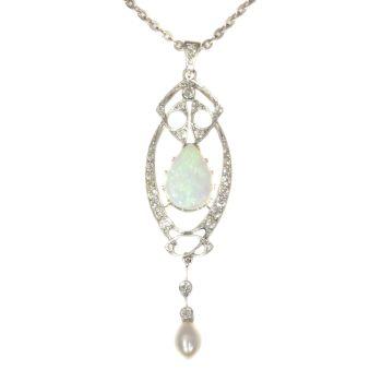 Vintage platinum Art Nouveau pendant with diamonds and large opal by Unknown Artist