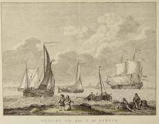 Amsterdam , Het IJ, Pampus  by  Matthias de Sallieth naar Abraham Storck