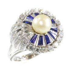 Vintage platinum diamond sapphire and pearl cocktail ring by Unknown