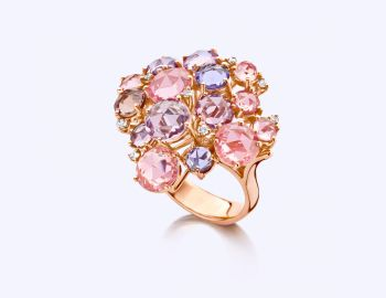 Rose Gold Ring with Diamond and Sapphire by Baskania .