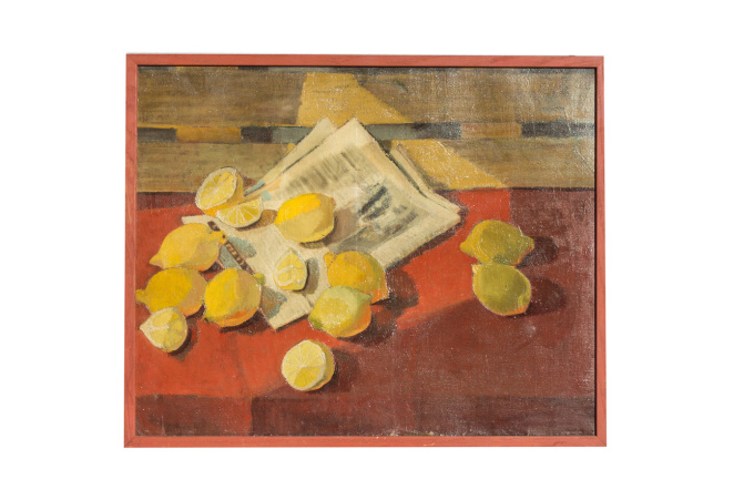 Still life with Lemons, Oil on Linen, Mid 20th Century, signed by L. Wagner by Unknown Artist