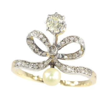 Victorian vintage diamond bow ring by Unknown Artist