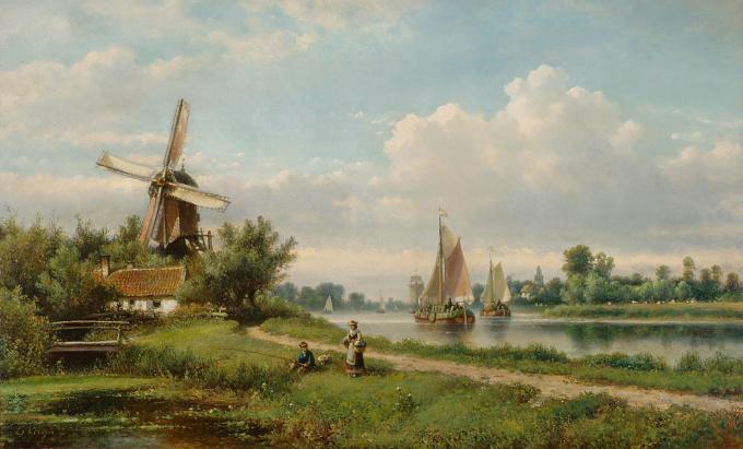 Summery river landscape with fishermen by Lodewijk Johannes Kleijn