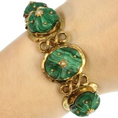 Russian malachite articulated bracelet by Unknown Artist