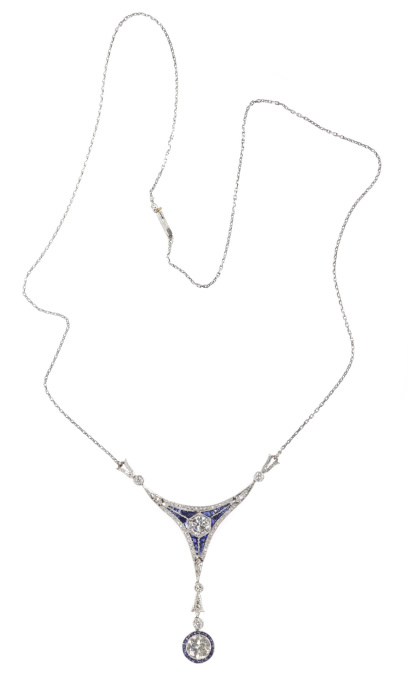 Art Deco Belle Epoque pendant with big brilliants and calibrated sapphires by Unknown Artist
