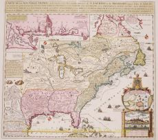 Beautiful map of eastern North America copied from De Fer, and designed to show the courses of the St. Laurence and the Mississippi rivers by Chatelain, Henri Abraham