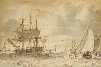 Ships in an estuary  by  Gerrit Groenewegen