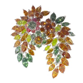 Spectacular Vintage 1970's brooch with over 19 carats of fancy colour diamonds by Unknown Artist