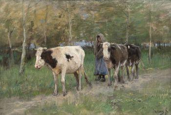 Returning home, Koehoedster,  Retournant à l' étable, Terug van het land by Anton Mauve