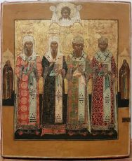 Antique Russian icon: The Four Holy Patriarchs of Moscow by Unknown Artist