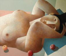 Liggende vrouw met appels by Peter Harskamp