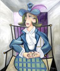 Seated woman in checkered skirt