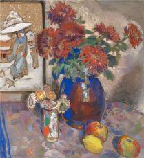 Bloemstilleven met fruit en Japanse prent by Gustave De Smet