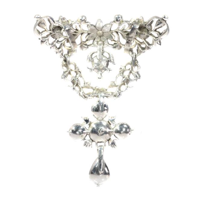 Antique Flemish cross pendant set with diamonds by Unknown Artist