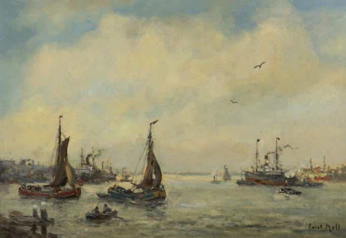 A Rotterdam harbour scene by Evert Moll