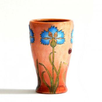 Enamel vase with cornflowers by Jean Georges
