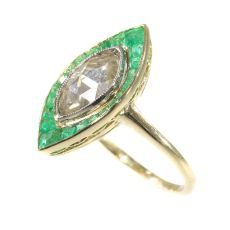 Art Deco Vintage engagement ring large rose cut diamond and emeralds by Unknown