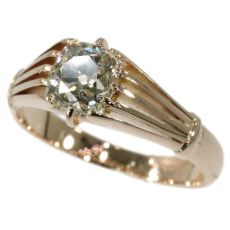 Victorian antique diamond ring with big cushion cut old mine cut diamond by Unknown Artist