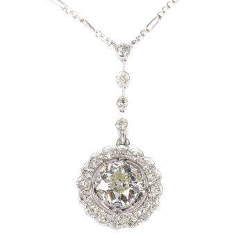 Platinum Art Deco diamond pendant on necklace by Unknown Artist