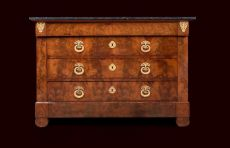Mahogany commode with ormolu bronze fittings.