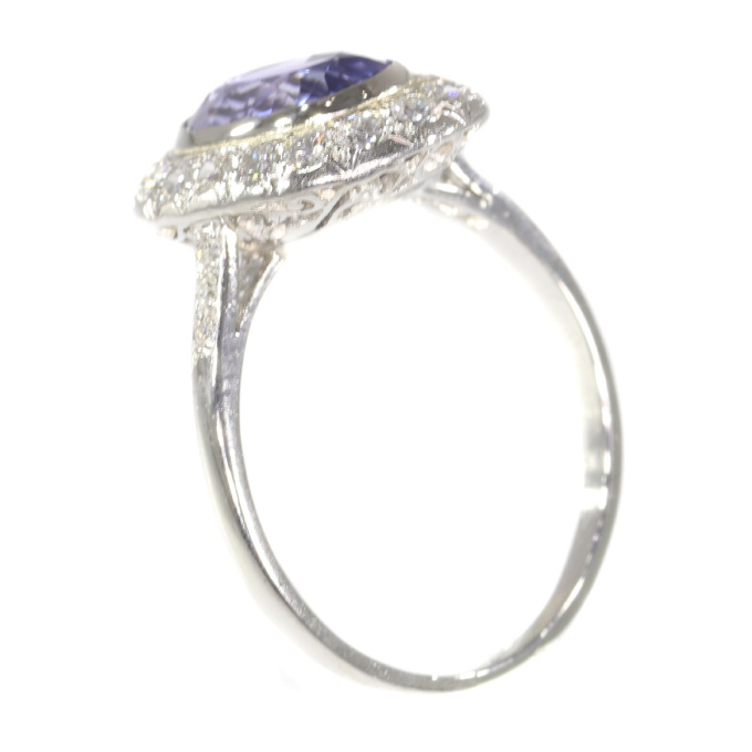 French Vintage Fifties Art Deco platinum diamond sapphire engagement ring by Unknown