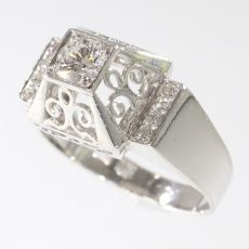 Unusual platinum diamond engagement ring from the fifties by Unknown