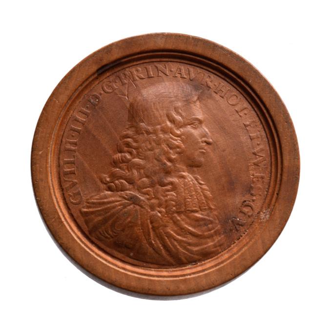 Deutscher Brettstein aus Holz, Wilhelm III von den Niederlanden (1650-1702) und Karl II von England by Unknown Artist