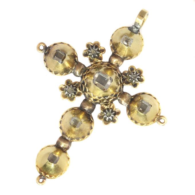 Antique Georgian gold diamond cross with old mine brilliant cut diamonds by Unknown Artist
